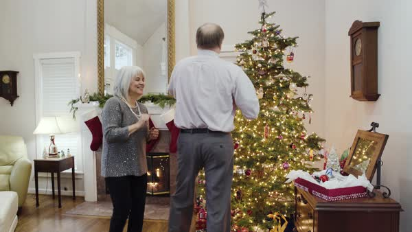 Medium shot of a senior couple decorating a Christmas tree Royalty-free stock video