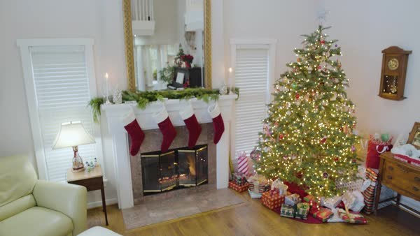 Medium shot of a living room at Christmas Royalty-free stock video