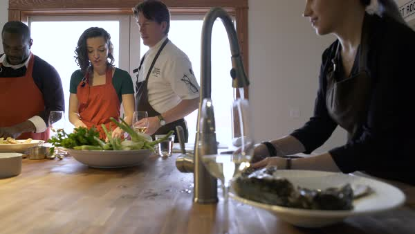 Chef teaching students how to work with seafood Royalty-free stock video