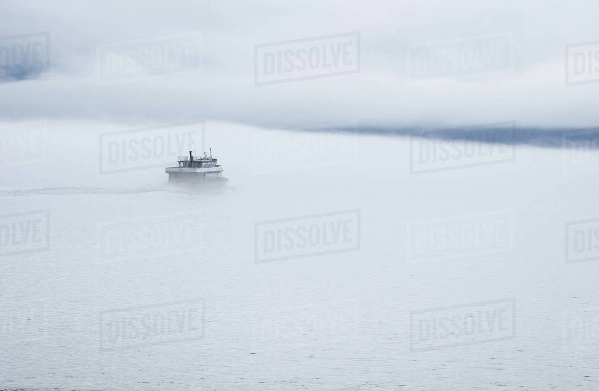 View of boat moving in frozen sea, Alaska, United States of America  Royalty-free stock photo