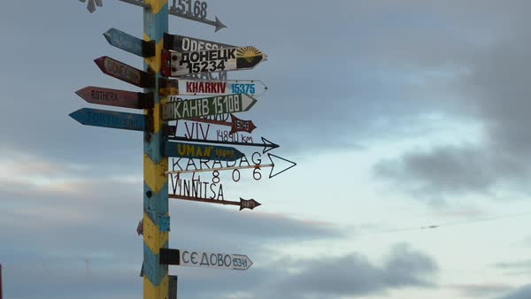 Hand-held shot of a signpost in Antarctica Royalty-free stock video