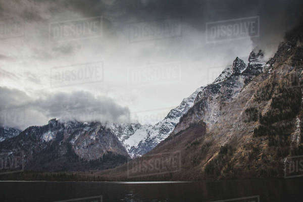 Germany, Bavaria, Schonau am Konigsee, Berchtesgarden, Majestic mountains on cloudy day Royalty-free stock photo