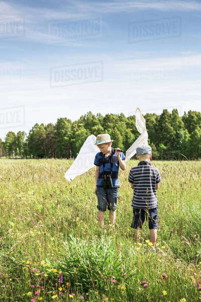 Sweden, Gotland, Boys (6-7, 8-9) with butterfly nets in meadow with forest on horizon Royalty-free stock photo