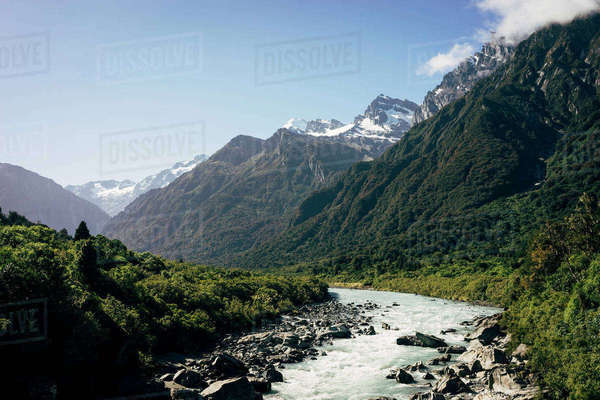 New Zealand, South Island, Scenic view of mountain landscape Royalty-free stock photo