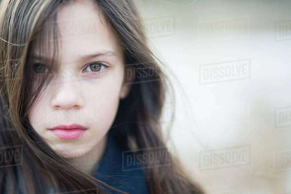 Sweden, Portrait of girl (10-11) with brown hair Royalty-free stock photo