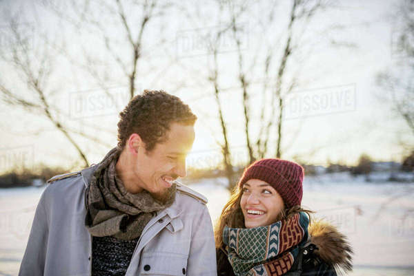 Sweden, Vasterbotten, Umea, Portrait of young couple in winter Royalty-free stock photo