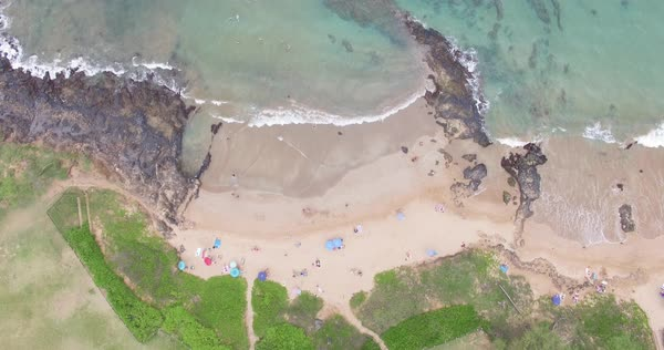 Drone shot of a sandy beach in Maui Royalty-free stock video