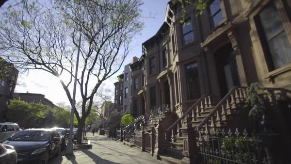 A view of Brooklyn's iconic Brownstone homes from the view of the street Royalty-free stock video