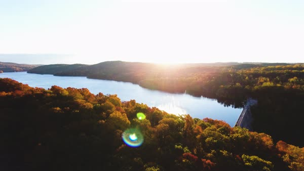 An aerial shot of an upstate New York reservoir at sunrise Royalty-free stock video
