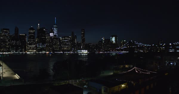 An establishing shot of New York City at night Royalty-free stock video