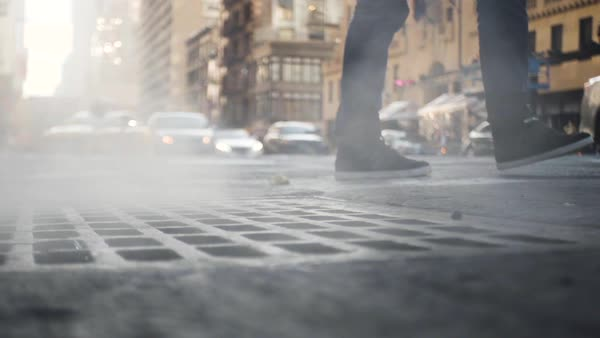 A close-up shot of a pedestrian passing on the street in New York City Royalty-free stock video