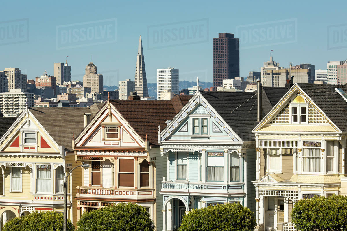Victorian Style Homes In San Francisco Cityscape California United States