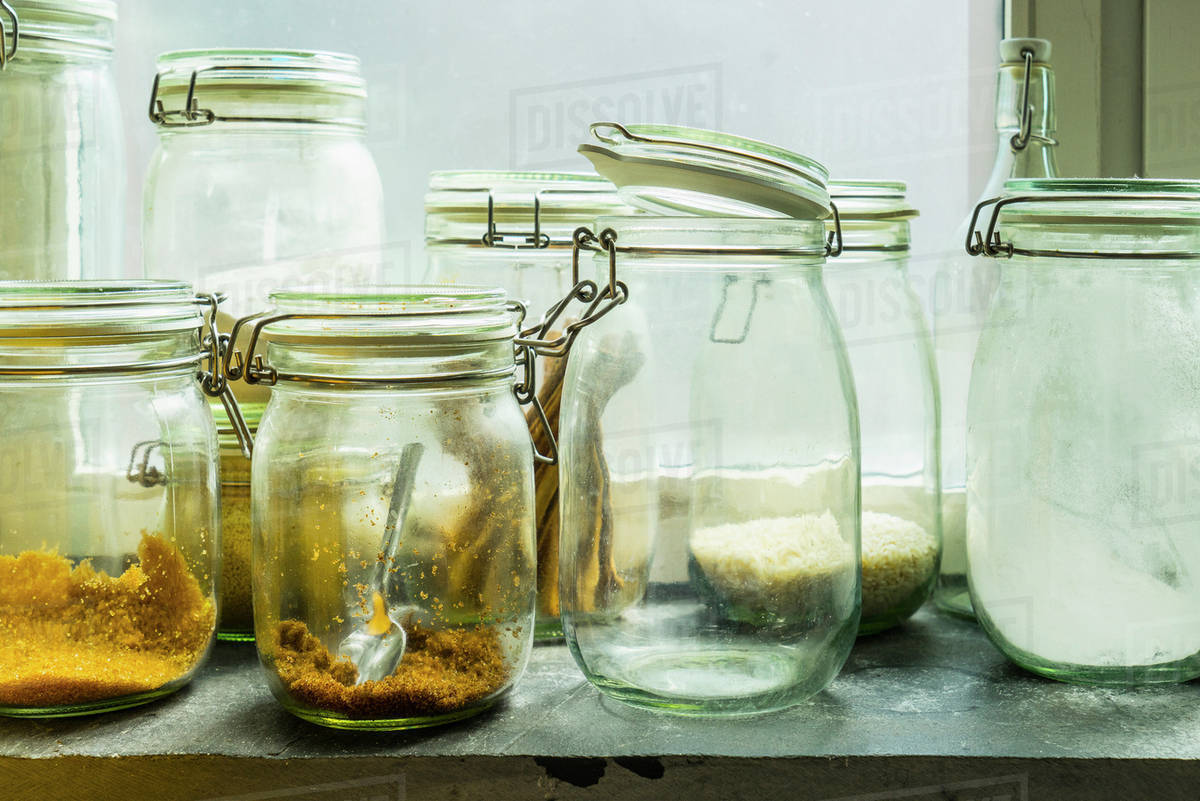 Open jars in windowsill Royalty-free stock photo
