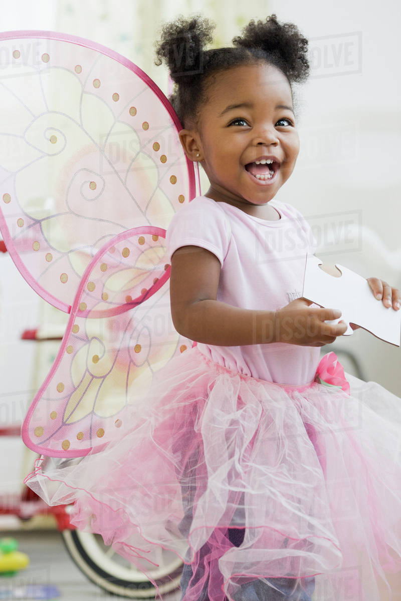 African American girl in fairy costume Royalty-free stock photo