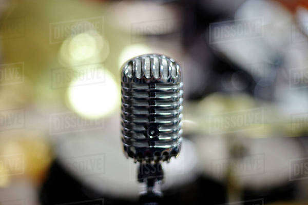 Close up of vintage microphone Royalty-free stock photo