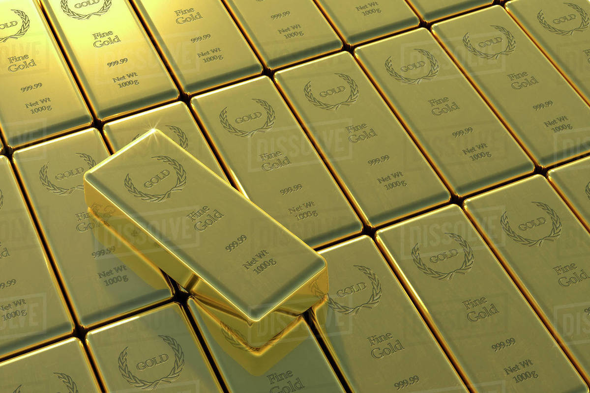 High Angle View Of Gold Bars And Yuan Symbol Stock Photo Dissolve
