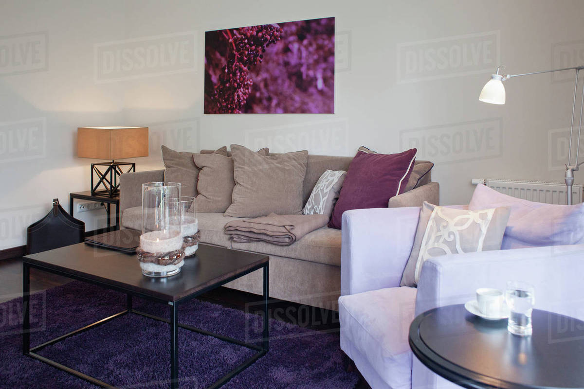 Coffee Table On Purple Area Rug In Contemporary Living Room D145 200 195