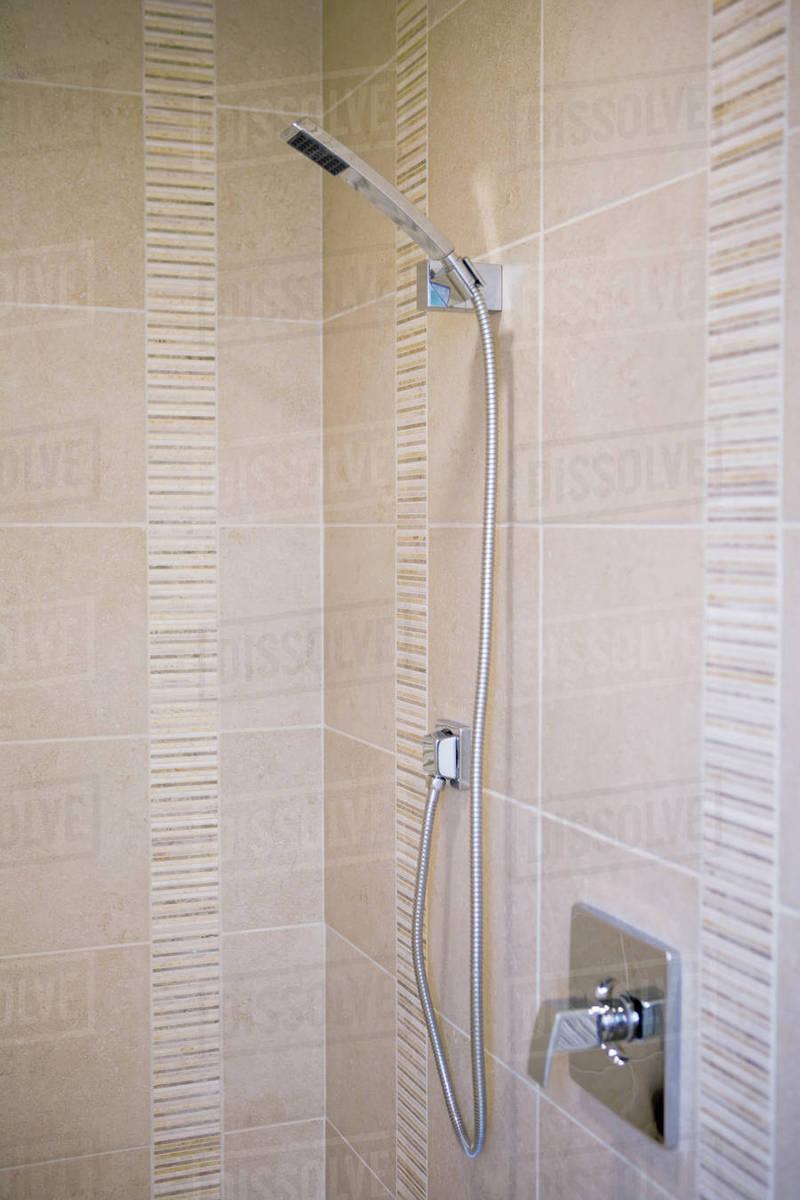 Tile shower with modern shower head