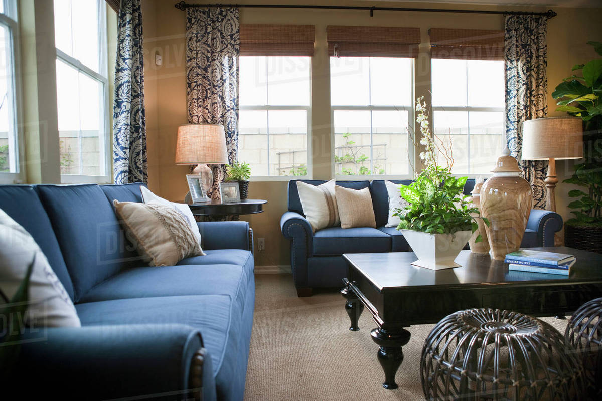 Blue sofas in traditional living room stock photo
