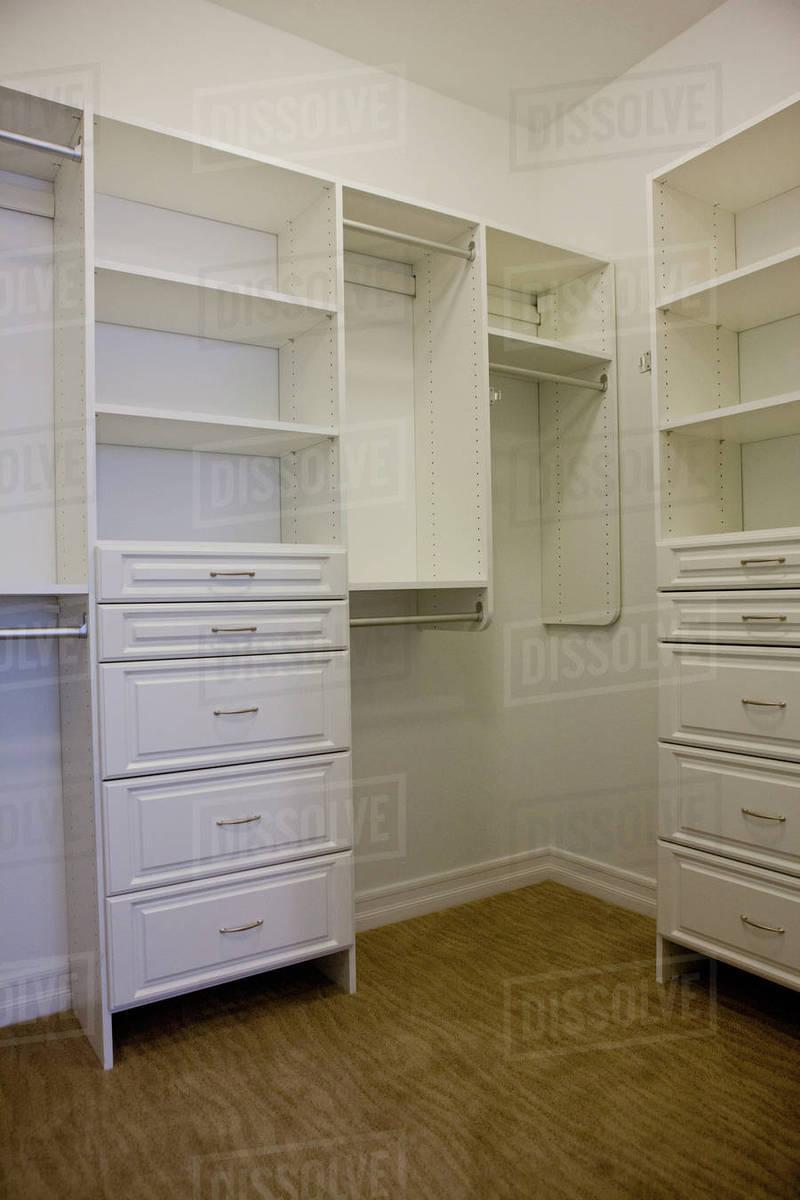 White Empty Walk In Closet Stock