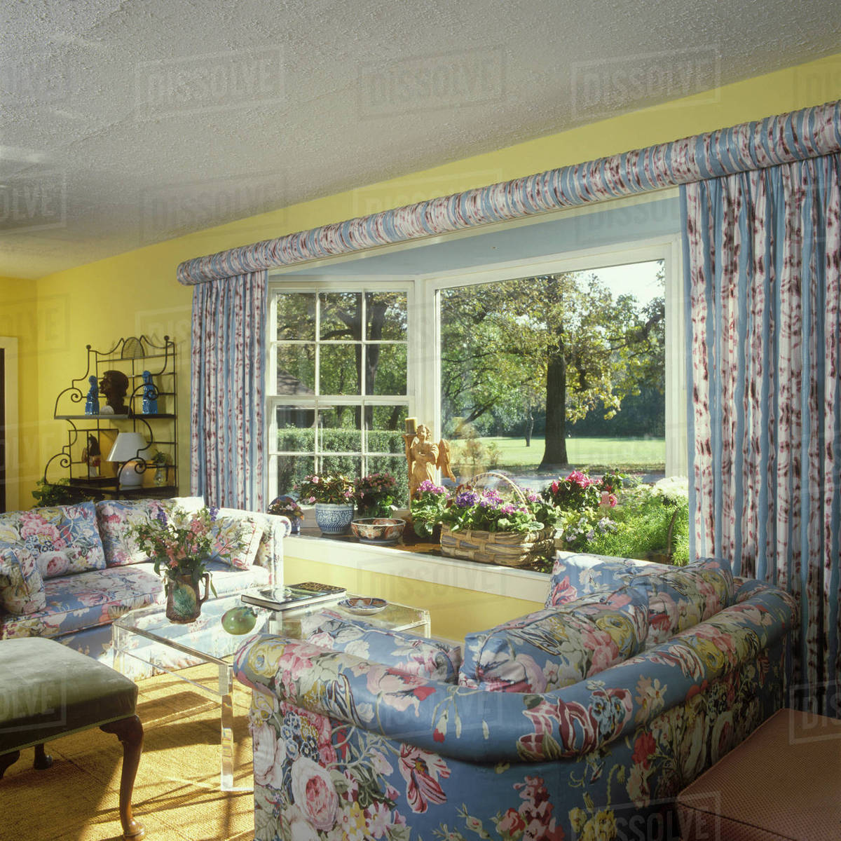 Traditional Living Room - floral chintz upholstered matching sofas and  D145_201_435