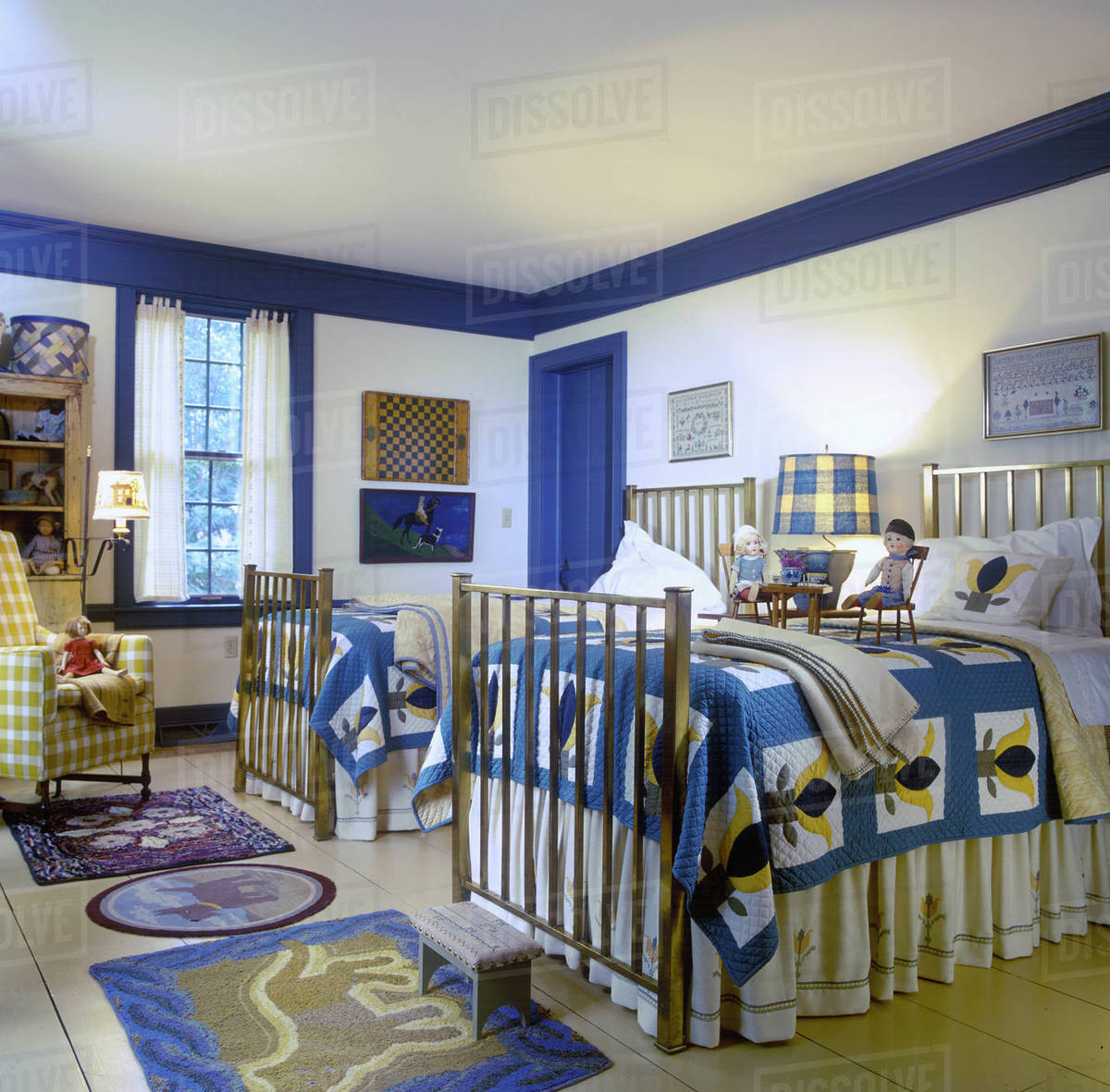 Children S Room Country Style Matching Quilts On Twin Beds Yellow And Blue Color Theme Br Painted Wide Plank Wood Floors Hooked Rugs