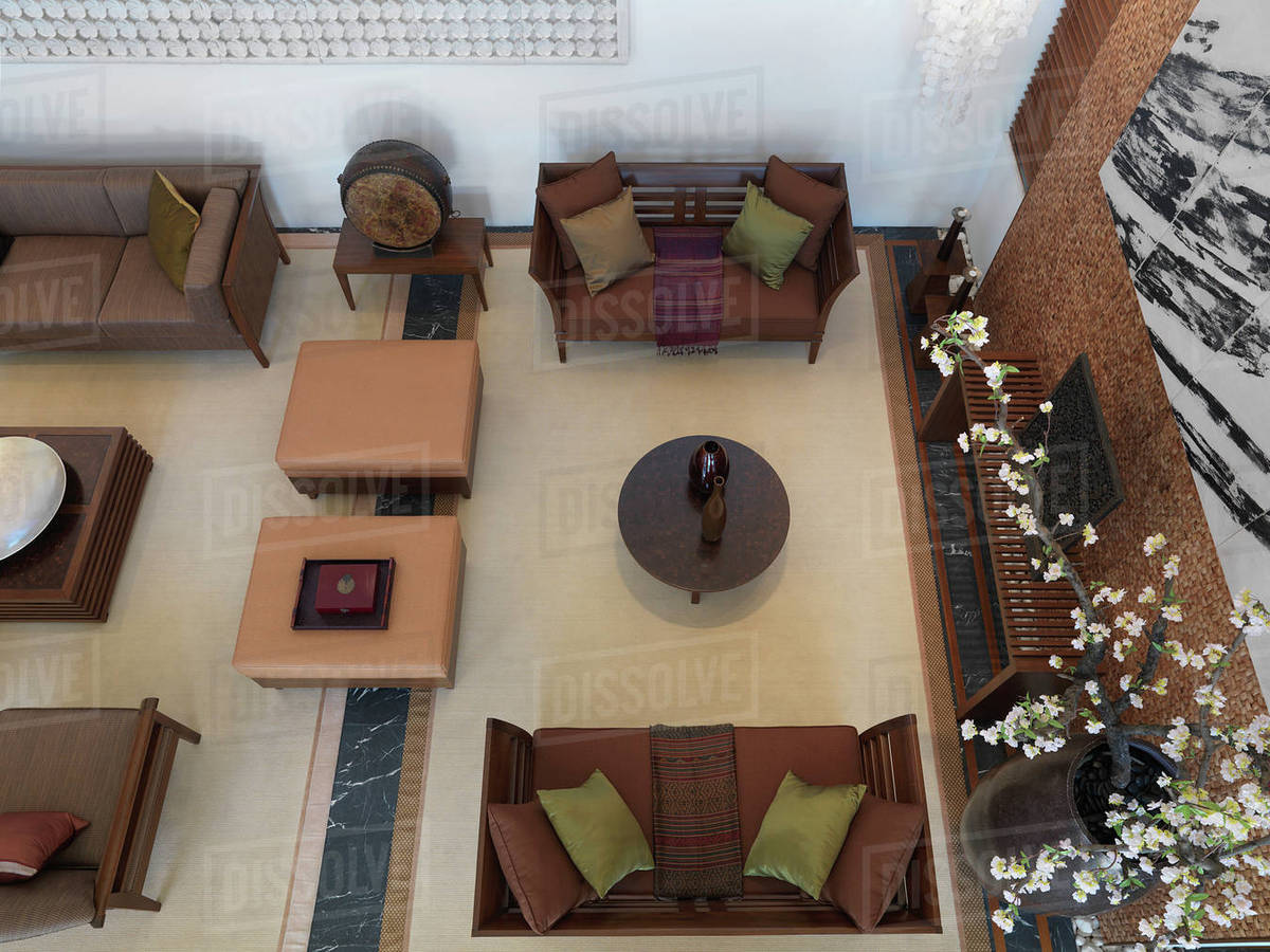 Aerial View Of Contemporary Living Room With Sitting Area Stock