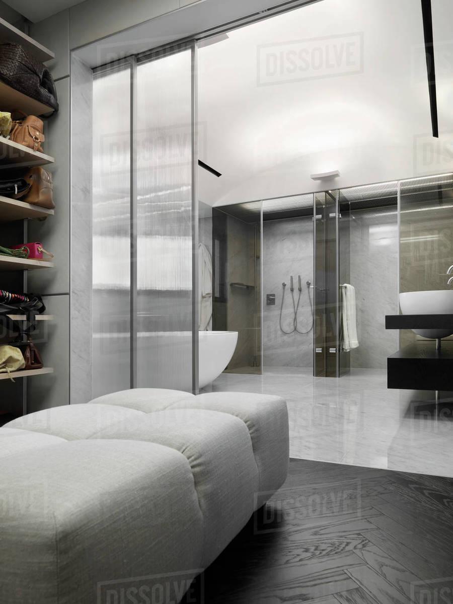walk in closet off the side of modern master bathroom