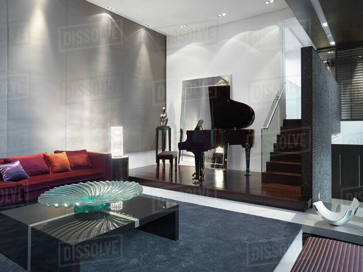 Modern Living Room With Baby Grand Piano Stock Photo Dissolve Rh Dissolve  Com Modern Piano Living