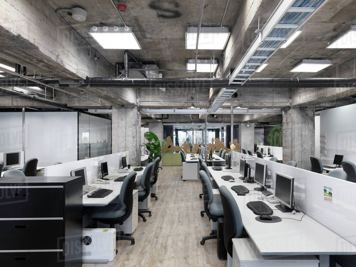 Modern Industrial Office With Rows Of Computers Stock Photo Dissolve