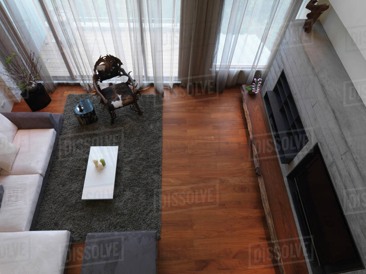 Aerial View Modern Living Room With Hardwood Floor Stock Photo