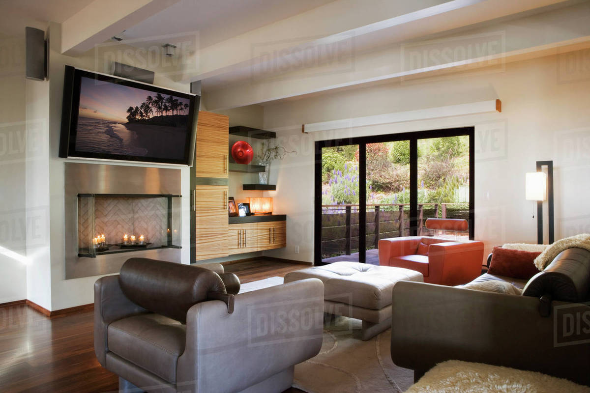 Cozy Modern Living Room with Candle Fireplace D145_203_725