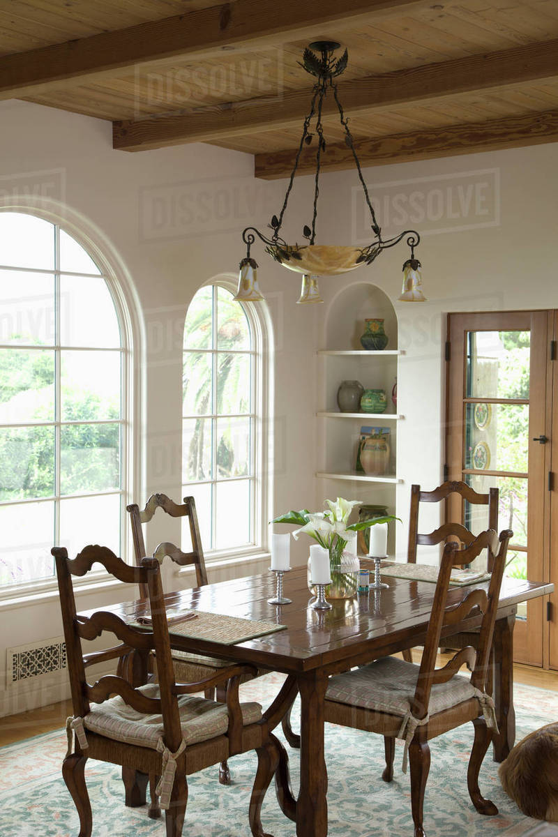 Excellent Traditional Dining Room With Ladder Back Chairs Stock Photo Beutiful Home Inspiration Cosmmahrainfo