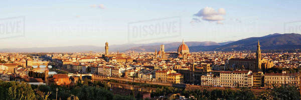 Skyline of Florence from the Piazza Michelangelo at Dawn Royalty-free stock photo