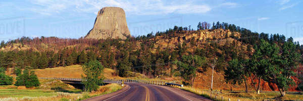 Road to Devils Tower Crossing Belle Fourche River Royalty-free stock photo