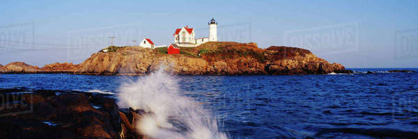 Nubble Lighthouse in Daylight Royalty-free stock photo