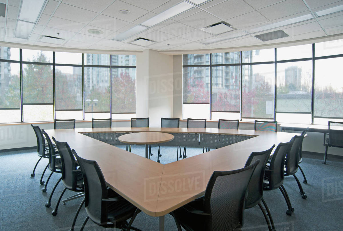 Triangle Table In Conference Room Stock Photo Dissolve - Triangle conference table