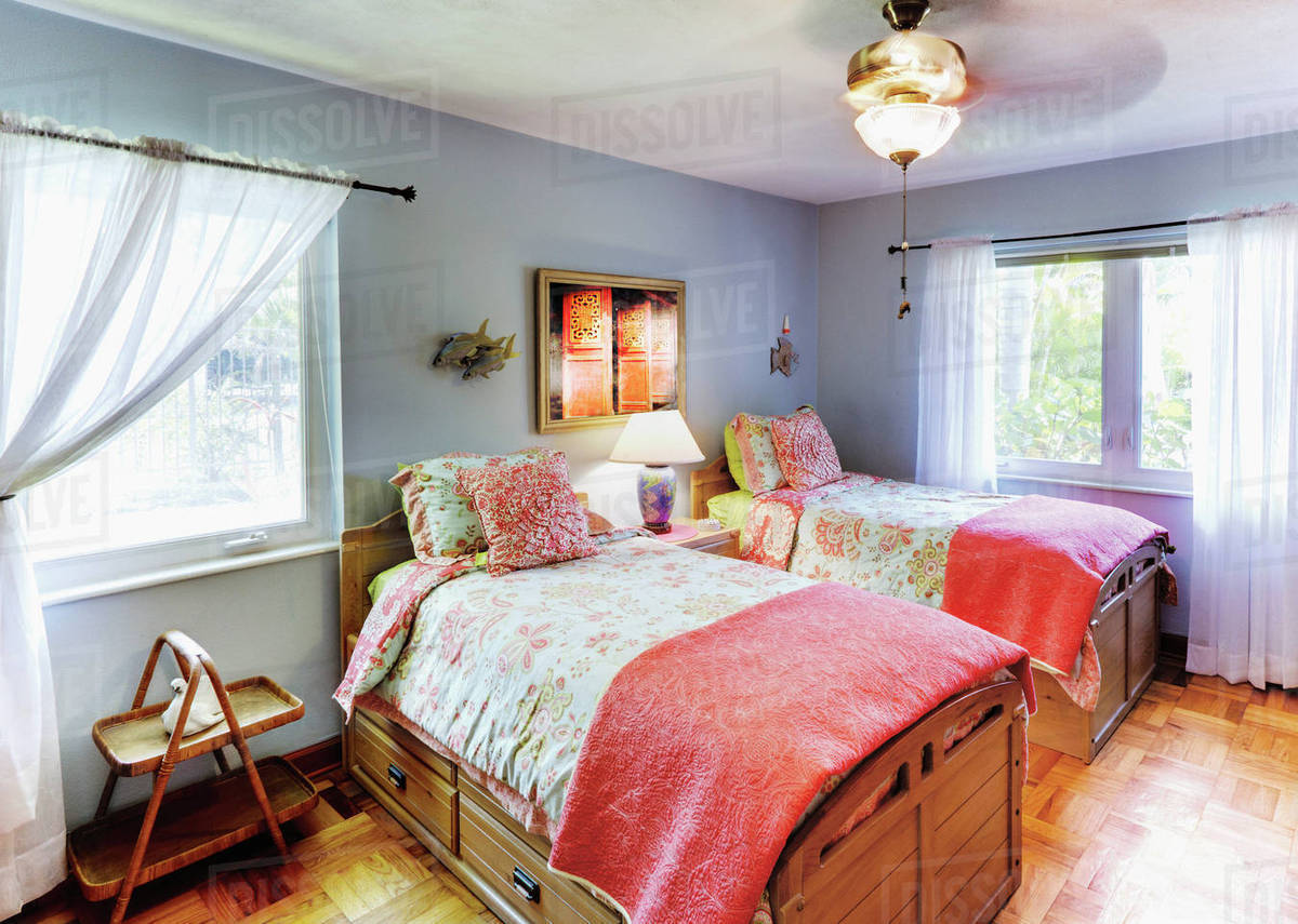 Matching Twin Beds Stock Photo Dissolve