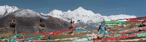 Amye Machen is Tibet's second most sacred mountain to Buddhists Royalty-free stock photo