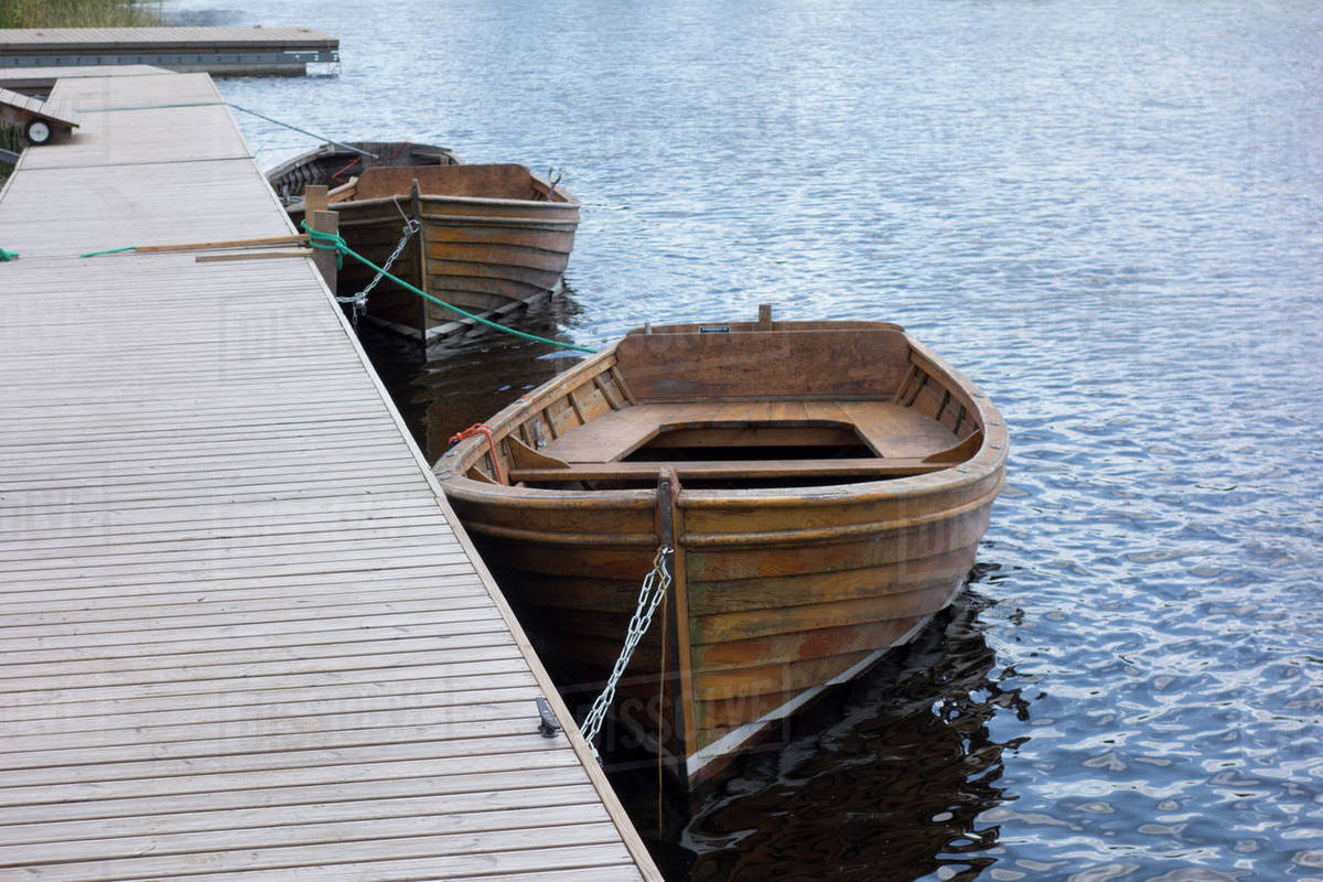 Wooden Rowing Boats Moored Stock Photo Dissolve