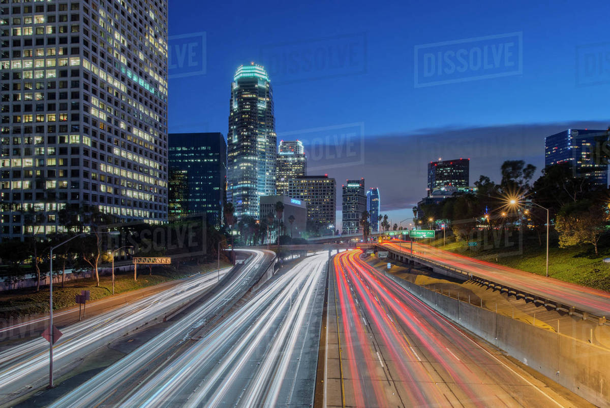 110 Freeway & Downtown Los Angeles stock photo