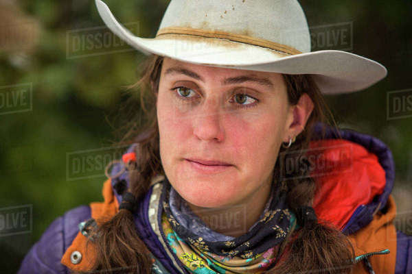 Portrait of serious Caucasian woman wearing cowboy hat Royalty-free stock photo