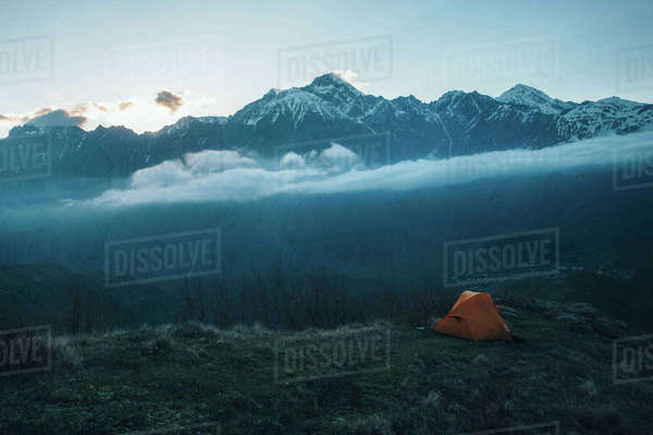 Camping tent in mountain landscape Royalty-free stock photo