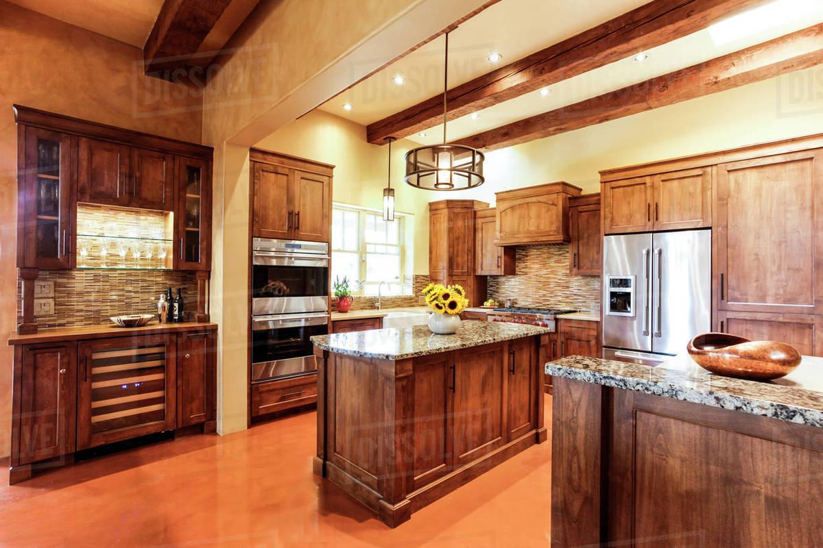 Wooden Cabinets In Modern Kitchen