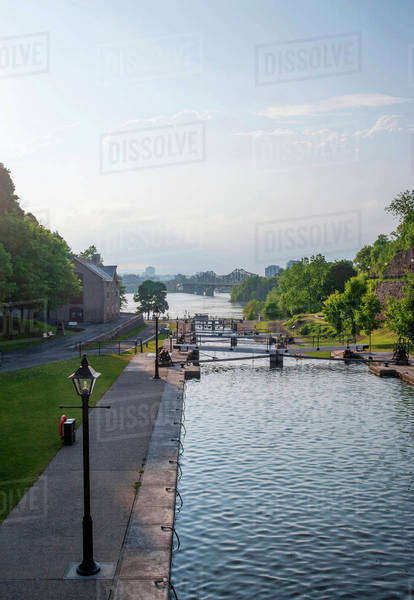 Locks in Rideau Canal under blue sky, Ottawa, Ontario, Canada Royalty-free stock photo