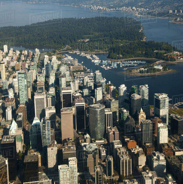 Aerial view of river and Vancouver cityscape, British Columbia, Canada Royalty-free stock photo