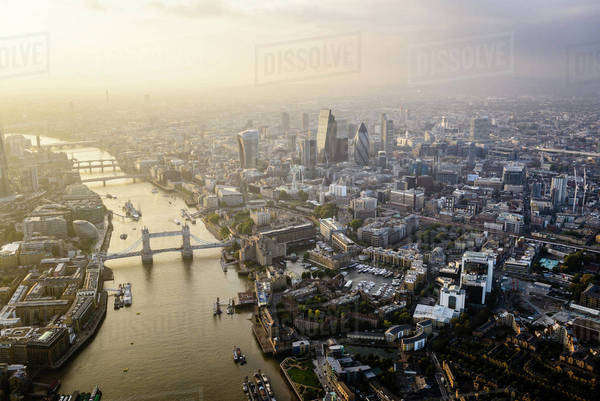 Aerial view of London cityscape and river, England Royalty-free stock photo