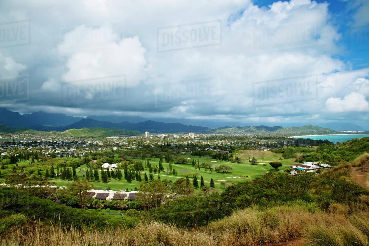 View of Kailua, O'ahu, Hawaii stock photo