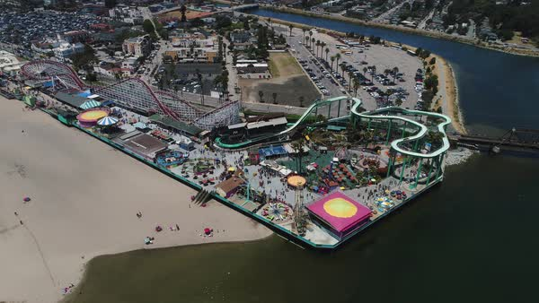 Aerial shot of Santa Cruz Beach Boardwalk Royalty-free stock video