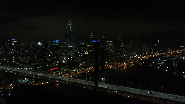 Aerial shot of downtown San Francisco at night Royalty-free stock video
